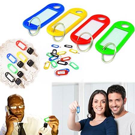 """dazzling toys Key Tags with Label Window, Plastic, 2"""" X 7/8, Assorted Colors - Pack of 20 (D072)"""