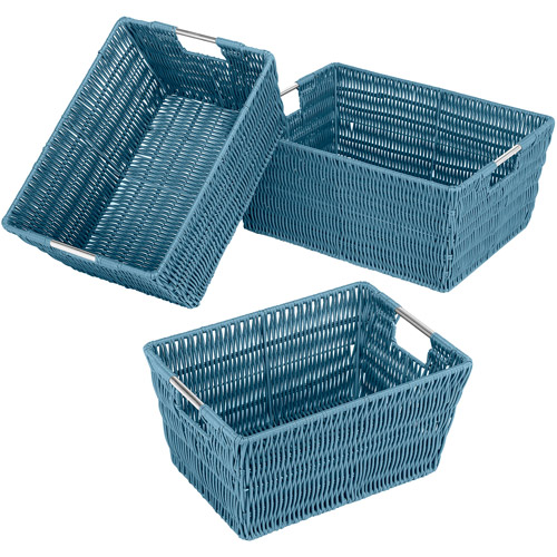 Whitmor Set of 3 Rattique Totes, Berry Blue