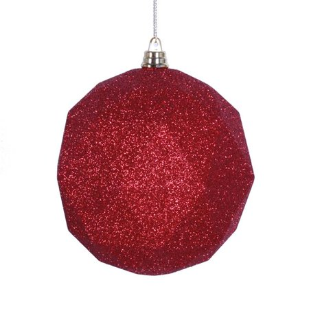 4.75 in. Red Glitter Geometric Christmas Ornament Ball - 4 per - Pink Glitter Snowflakes