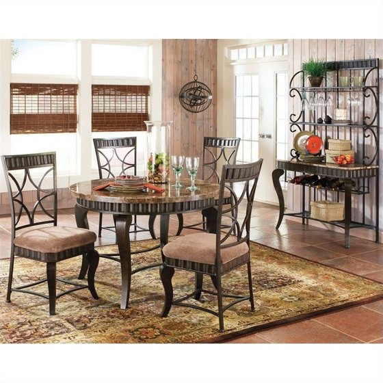Steve Silver Company Hamlyn 5 Piece Marble Top Dining Table Set in ...