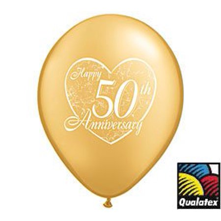 (12) 50th Anniversary Latex Balloons 11 in. Gold Color and Heart Design ()