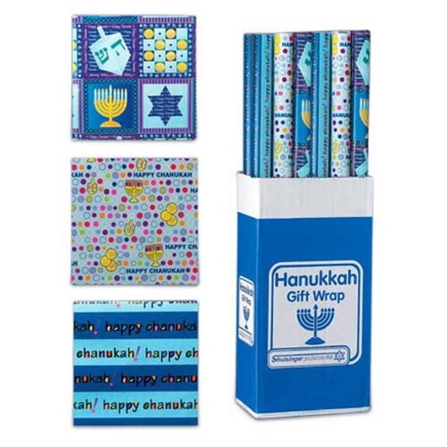 Rite Lite SJ-30030 Chanukah Gift Wrap Rolls In Display - 3 Assorted Styles - 30 Sq.  Ft.  - Pack Of 24
