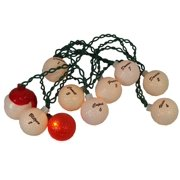 Set of 10 Santa's Reindeer Golf Ball Novelty Christmas Lights - Green Wire