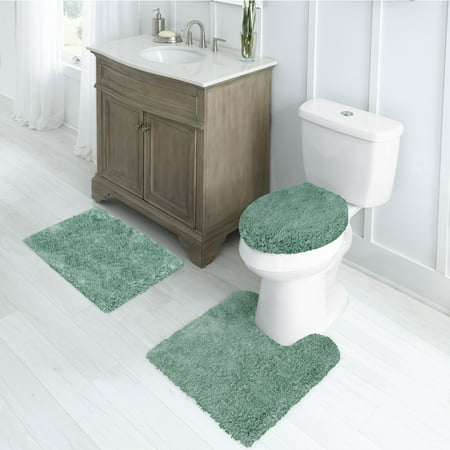 "Better Homes & Gardens Nylon Thick And Plush 3-Piece Bath Rug Set with 17"" x 24"" Rug, Aquifer"