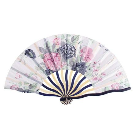 Dancer Wedding Party Floral Printed Nylon Bamboo Frame Portable Handheld Folding Fan Art Decoration - Asian Hand Fans