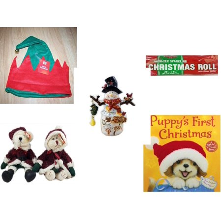 Christmas Fun Gift Bundle [5 Piece] -  Elf Hat w/ Jingle Bell - Snow-Tex Sparkling  Roll 36