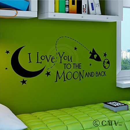 Rocket I Love You To The Moon And Back vinyl lettering decal home decor wall art saying (Black, 12.5x33) - Rocket Bunny Sticker