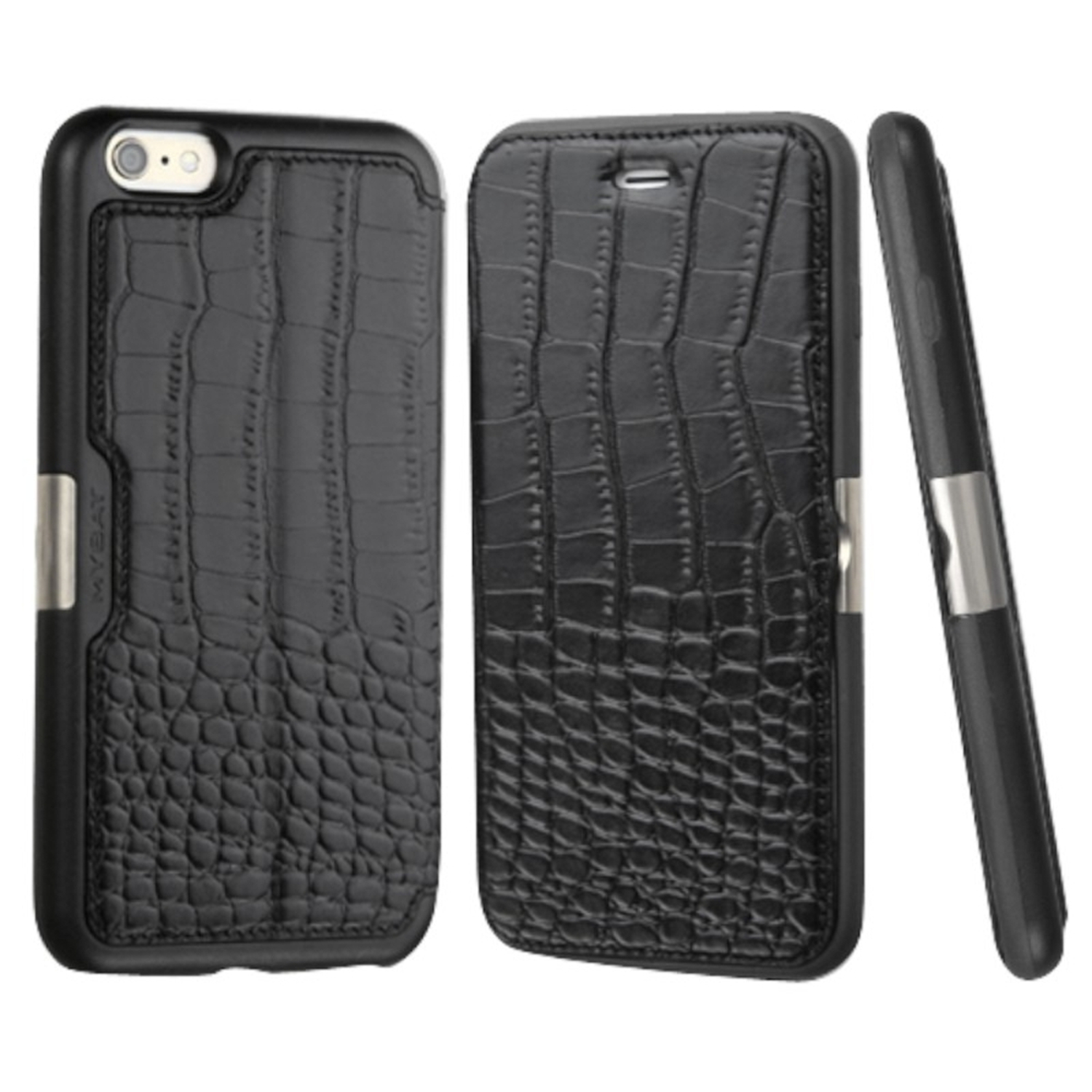 Insten Crocodile Folio Genuine Leather Case w/card holder For Apple iPhone 6 Plus/6s Plus - Black (Christmas Gift Idea)
