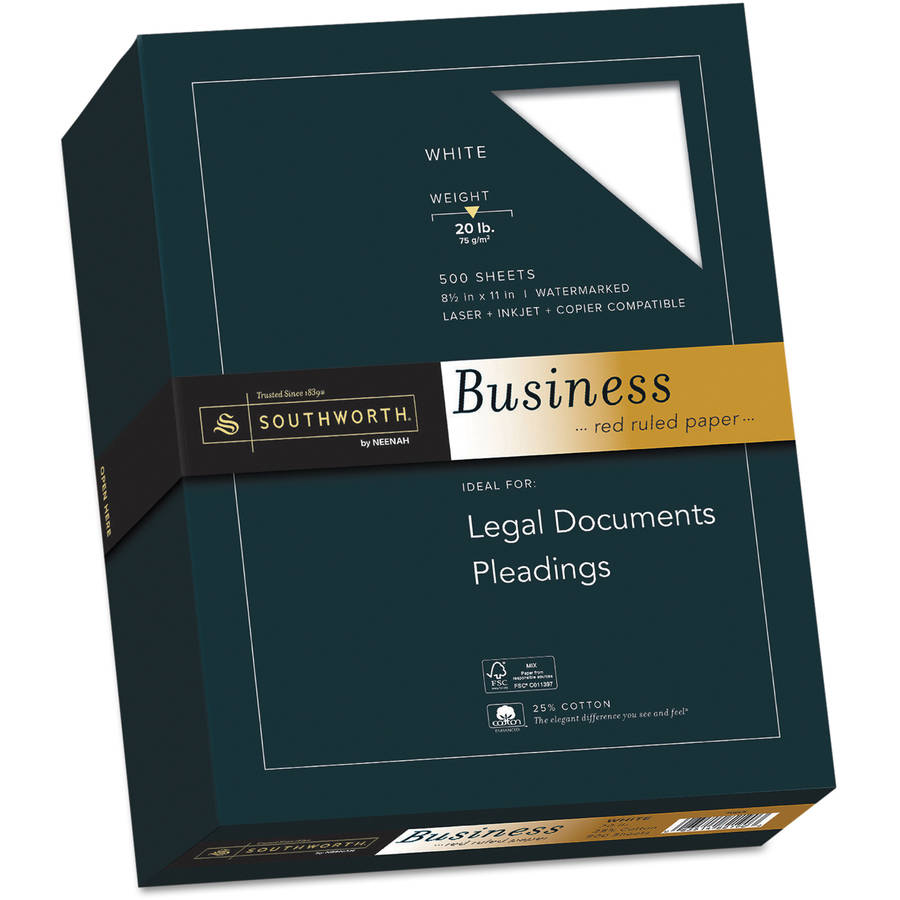 Southworth 25 Percent Cotton Fine Business Paper, 20 lbs, 8-1/2 x 11, 500/Box