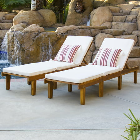 Best Choice Products Outdoor Patio Poolside Furniture Set Of 2 Acacia Wood Chaise - Furniture Lounger