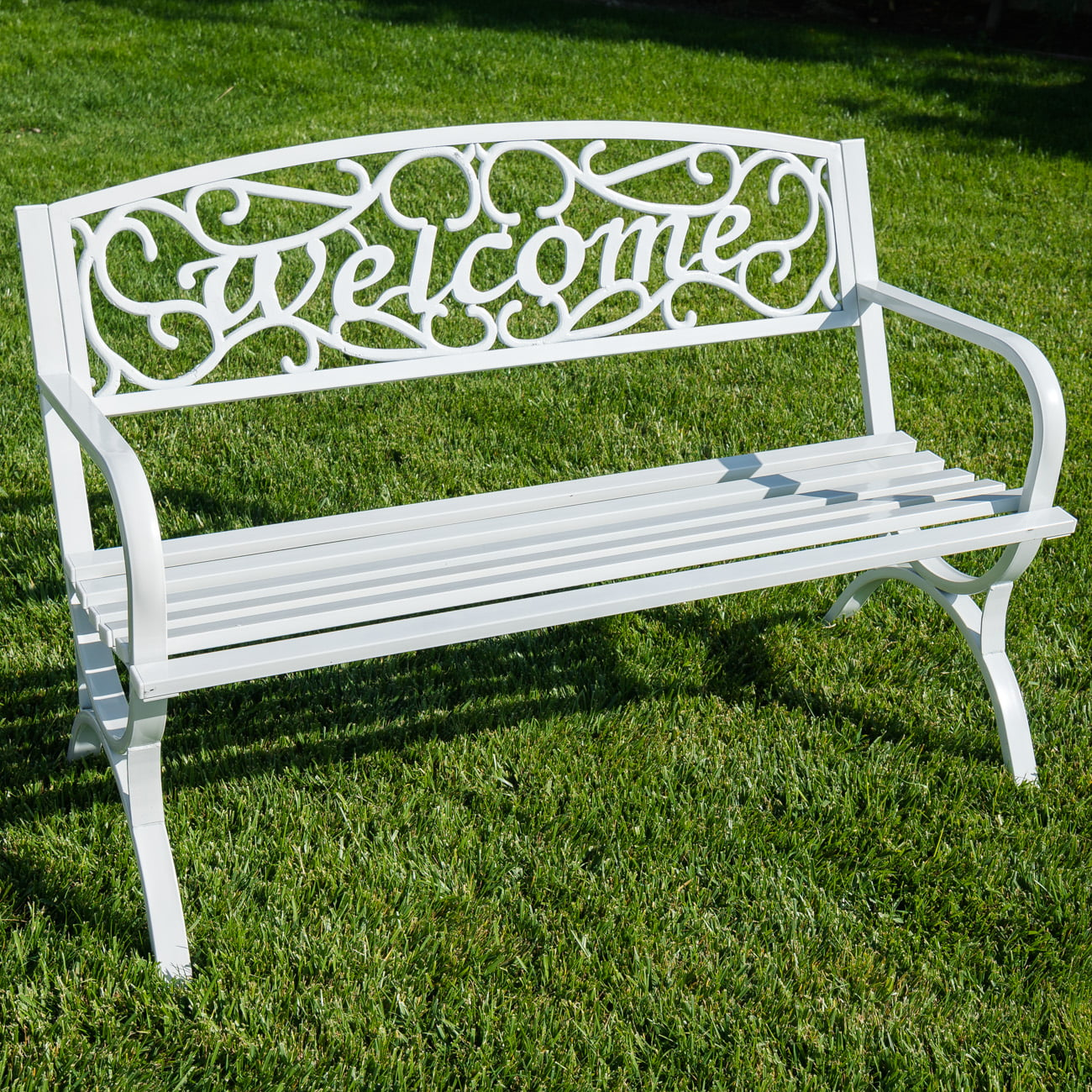 "Belleze Elegance Outdoor Park Bench 50"" Welcome Design Seat Backyard (White) by Belleze"