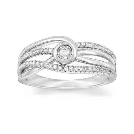 1 Ct Diamond Multi Row Diamond Woven Wide Ring 10k White Gold Womens Jewelry