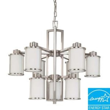 Nuvo Lighting 63809 - 9 Light (Twist  and  Lock Base) 30u0022 Odeon Brushed Nickel Finish with White Satin Glass Chandelier Light Fixture (60-3809)