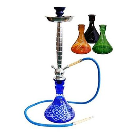"VAPOR HOOKAHS AVALANCHE 26"" COMPLETE HOOKAH SET: Portable Modern Hookahs with multi hose capability from a single hose shisha pipe to 2 Hose, 3 Hose, or 4 Hose narguile pipes (Green"