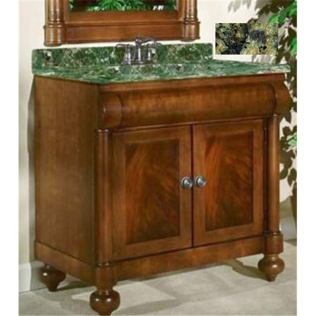 Kaco International 348-2400-GN John Adams 24 inch Vanity in a Brown Cherry Krylon Finish and Green Granite Top