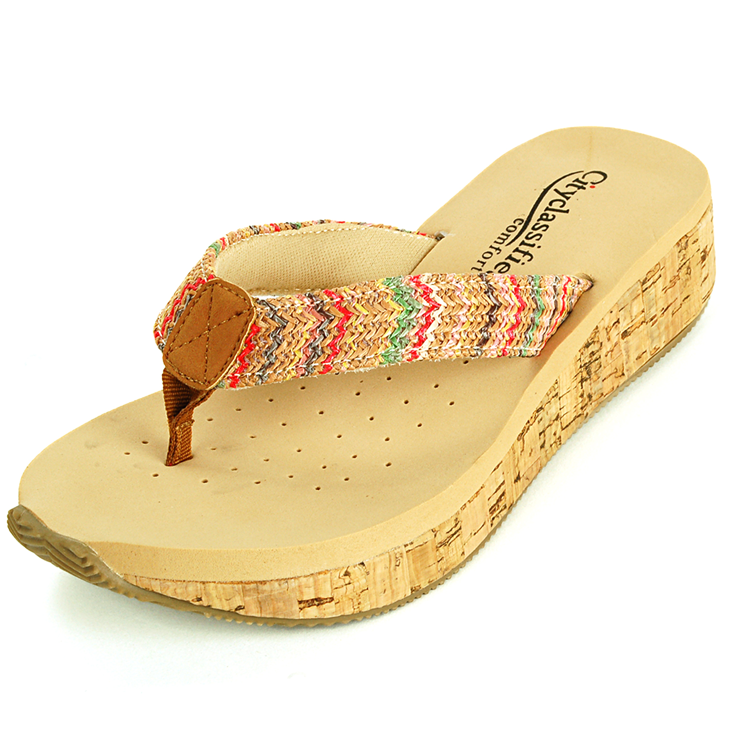 Womens Sandals Wedge Heel Cork Mule Padded Comfort Open Toe Thong Platform Shoes Tan Size 6.5