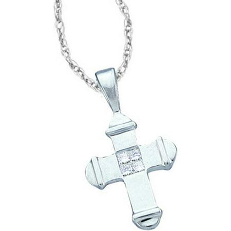 14kt White Gold Womens Princess Diamond Small Cross Religious Pendant 1/20 Cttw = .05 Cttw (I3 Clarity, princess cut)