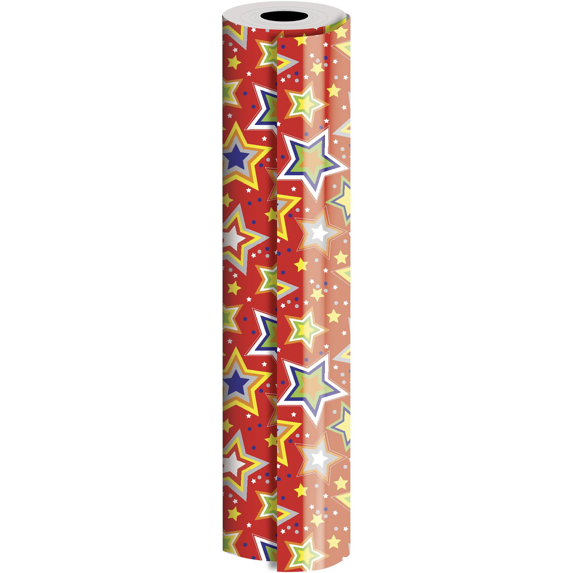"Jillson & Roberts Bulk Gift Wrap, Starry Red, 1/2 Ream 417' x 24"""