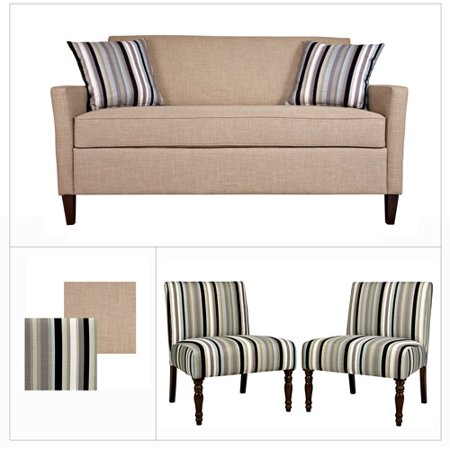 Angelo Home Sutton Sofa In Sandstone Khaki Brown And Bradstreet Armless Black Stripe Chairs Set