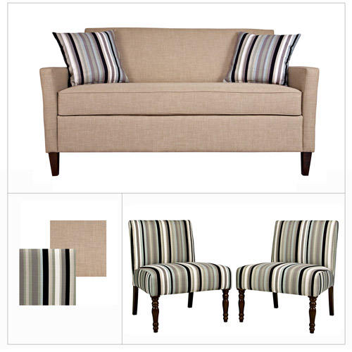 angelohome sutton sofa in sandstone khaki brown and bradstreet armless black stripe chairs