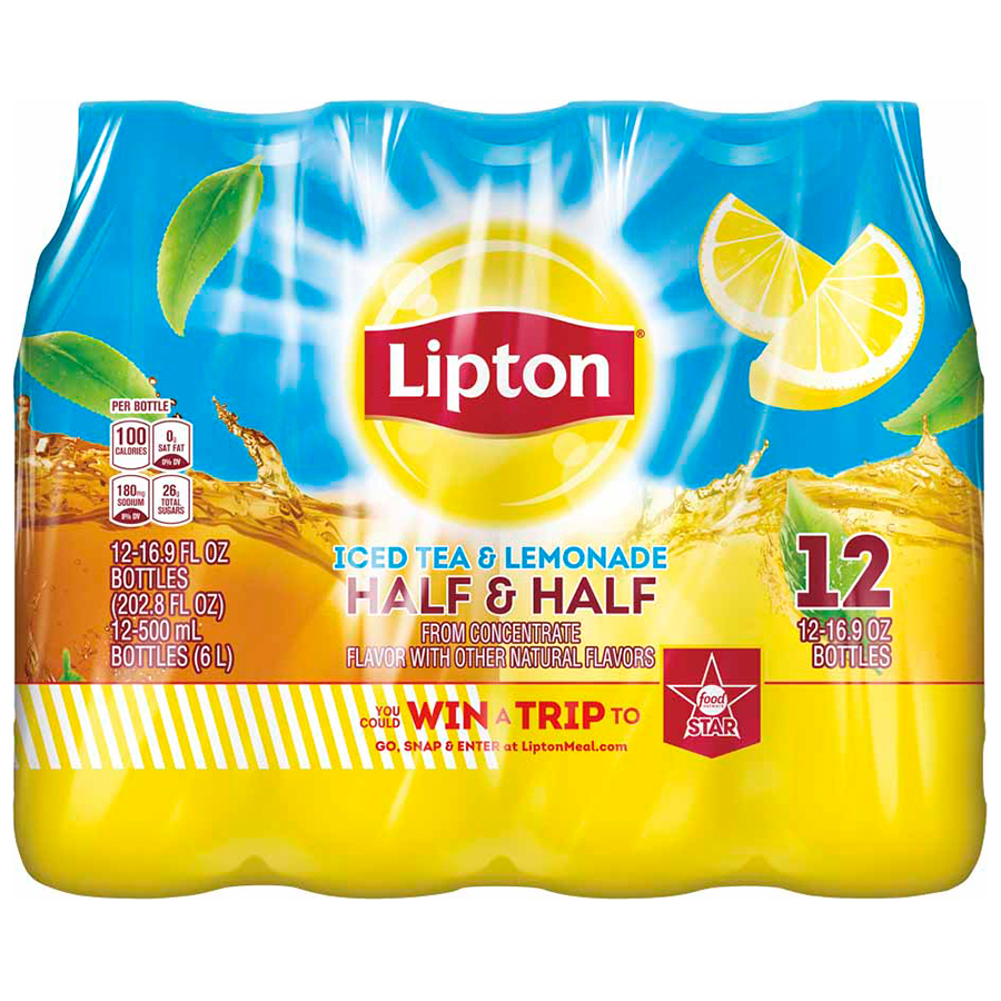 Lipton Iced Tea and Lemonade Half & Half, 12 Count, 16.9 fl. oz. Bottles