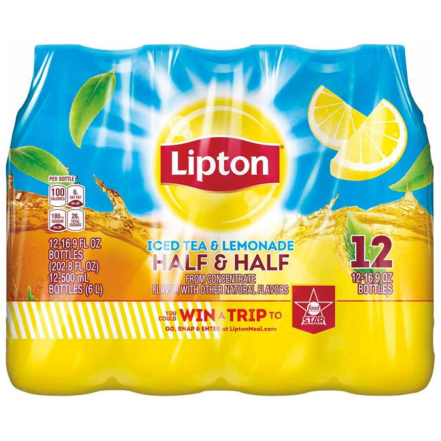(36 Bottles) Lipton Iced Tea And Lemonade Half & Half, 16.9 Fl Oz