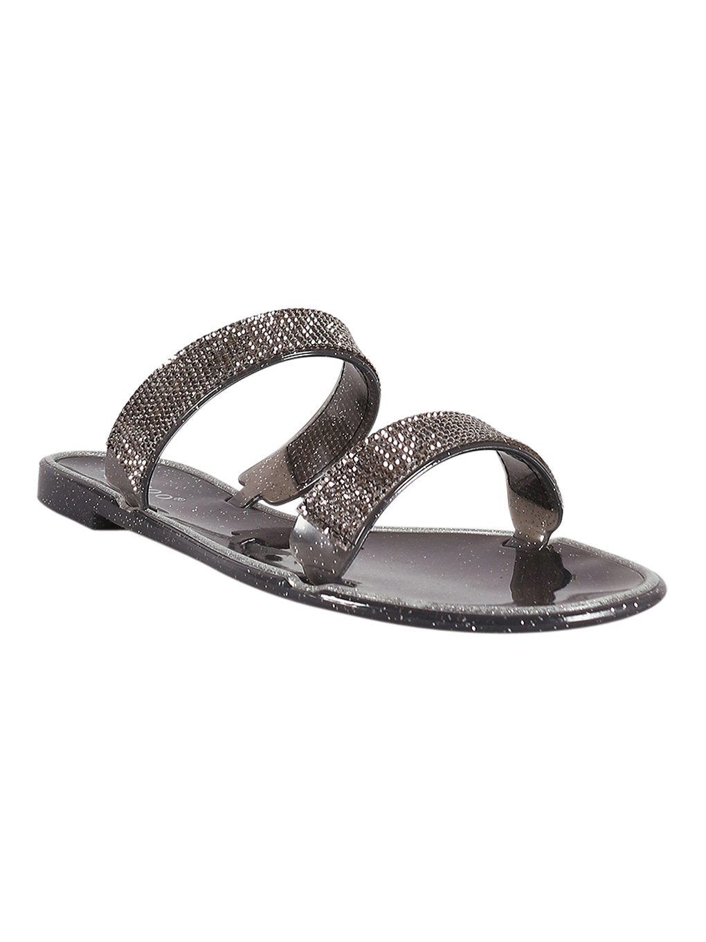 Women Rhinestone Accent Glitter Jelly Double Band Slide Sandal 18581
