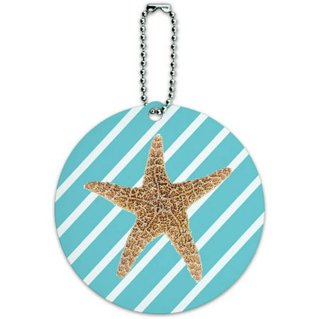 Starfish Fun Tropical Beach Birthday Wedding Round Luggage ID Tag Card for Suitcase or Carry-On Luggage Tag Wedding Favors