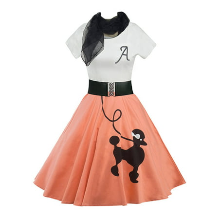 LUXUR Casual Short Sleeve Women Poodle Printed Vintage Rockabilly Swing Bandage Dress 50's 60's Belted Dress with Scarf