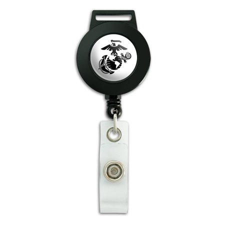 Marine Corps USMC Black on White Eagle Globe Anchor Officially Licensed Lanyard Retractable Reel Badge ID Card - Corps Badge