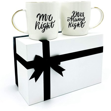 Triple Gifffted Mr Right and Mrs Always Right Coffee Mugs Gifts for Couple, Engagement Anniversary Day Wedding, Women, Couples, Bride Groom, Parents, Christmas, Newlywed, Gift His Hers Cups Set