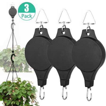 Retractable Pulley Hanging Basket Plant Flower Hooks High Up and Pull Down Hanger for Garden Baskets, Pots and Birds Feeder (High Flower Pot)