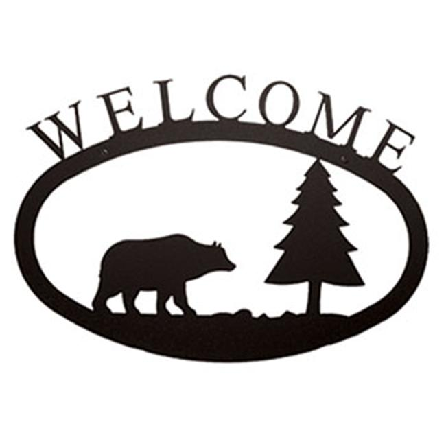 Village Fer Forg- WEL-83-S Petit Welcome Sign-Plaque - Bear and Pine Tree - image 1 de 1