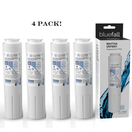 Maytag UKF8001 Refrigerator Water Filter. Compatible Replacement Refrigerator Water Filter for Maytag UKF8001 by Bluefall - VALUE PACK 4 Refrigerator Water Filter. Maytag Water Filter for Maytag UKF8001 Compatible Replacement Refrigerator Water Filter by Bluefall . Enjoy delicious filtered water for your refrigerator water filter, using Bluefall upgraded technology. The perfect fit Guaranteed.