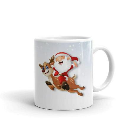 Santa Riding T-rex Rudolph Yankee Swap Coffee Tea Ceramic Mug Office Work Cup Gift 11