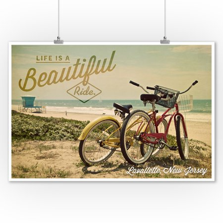 Ride Print Jersey - Lavallette, New Jersey - Life is a Beautiful Ride - Beach Cruisers - Lantern Press Photography (9x12 Art Print, Wall Decor Travel Poster)