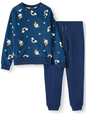 Athletic Works Printed Sweatshirt and Sweatpant, 2-Piece Active Set (Little Girls, Big Girls & Plus)