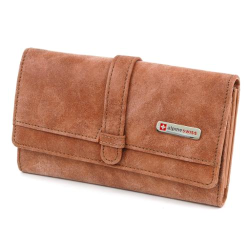 Womens Organizer Wallet Checkbook Clutch Bag Mini Purse Faux Leather AlpineSwiss Camel Organizer Wallet