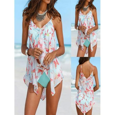 Womens 3PCS Tankini Sets Bikini Bottom Plus Size Mesh Layered Swimwear -