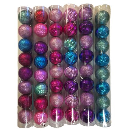 Christmas Tree Ball Ornaments - Blue Purple and Pink Balls Christmas Tree Ornaments 2 Inches Pack of 48 New