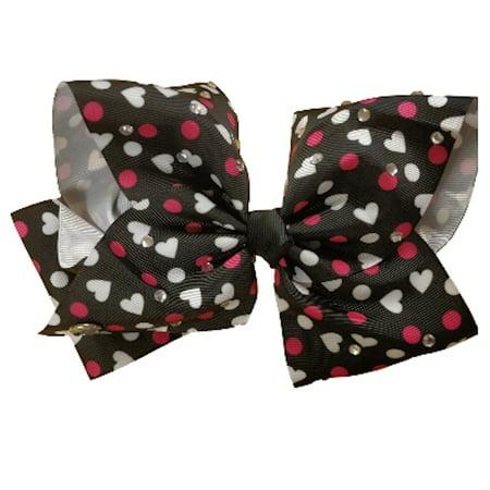 JoJo Siwa Large Cheer Hair Bow (Black w/Pink Hearts)