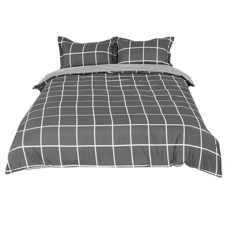 PiccoCasa Dark Gray and White Plaid Pattern Duvet Cover Pillow Case Bedding Set Double ()