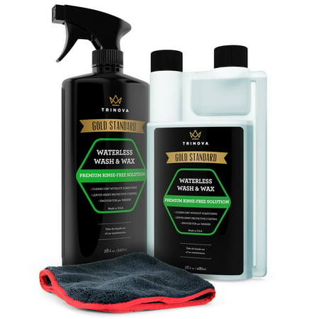 TriNova Waterless Car Wash Kit, Premium Plush Microfiber Towel Included, Makes 30 Bottles, 18