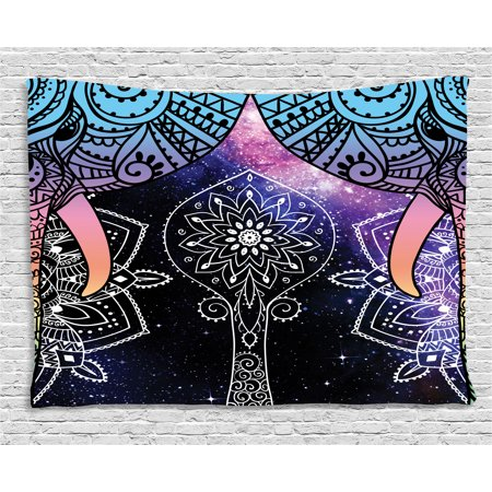 Indian Tapestry  Elephant Faces On The Foreground Of Space Galaxy With Milky Way Sacred Occult Theme  Wall Hanging For Bedroom Living Room Dorm Decor  60W X 40L Inches  Purple Blue  By Ambesonne
