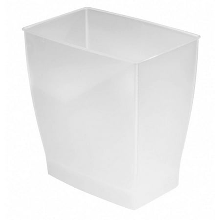 - InterDesign Spa Mono Rectangle Wastebasket Trash Can, Frost