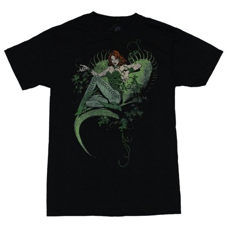 Poison Ivy (Dc Comics) Mens T-Shirt - Distressed Ivy In a Fly trap Pose Image (X-Large, X-Large)