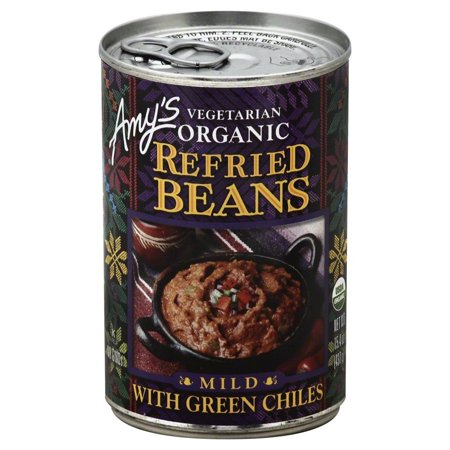 Amy's Organic - Refried Vegetarian Beans with Mild Green Chiles, 15.4 Ounce