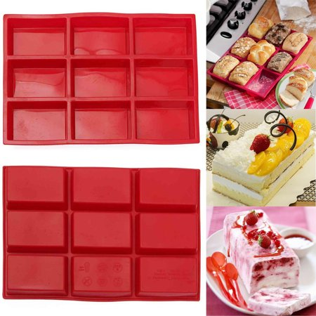 Silicone Mini Cake Holders,9 Cavity Rectangle Silicone Mold for Handmade Soap Food Flan Pudding Cake , Mini Loaf Pan