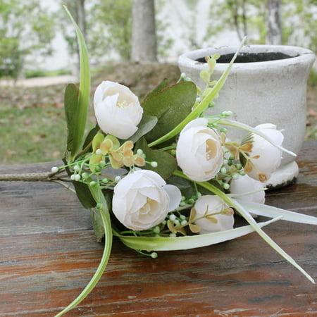 DIY Artificial Silk Craft Flowers Wiith 10 Flower Heads Artificial Silk Flowers Camellia Roses for Bouquets, Weddings, Wreaths, & Crafts - Silk Flower Wreaths