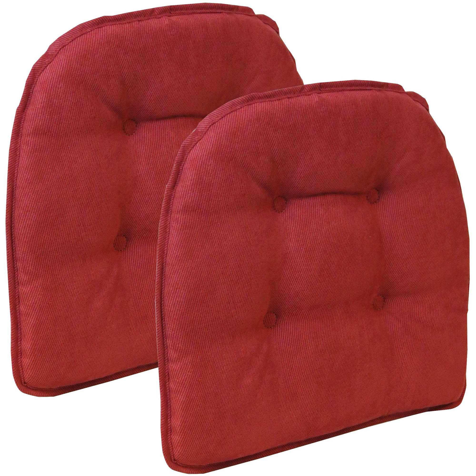"Gripper Non Slip 15"" x 16"" Nouveau Tufted Chair Cushions, Set of 2"